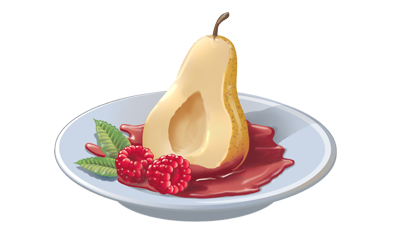 Poached Pear in Raspberry Sauce